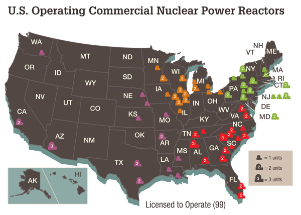 US nuclear power reactors map